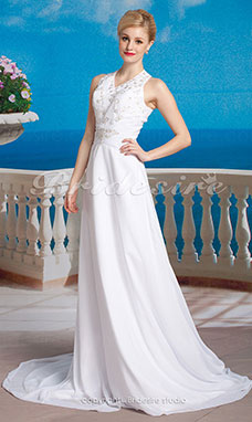 Tubino Chiffon Abito da sposa with Button Back e Beaded Embroidered