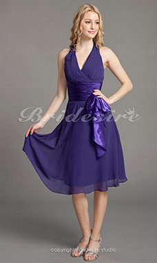 Trapezio A V Ad anello Chiffon Raso opaco Al ginocchio Bridesmaid/ Wedding Party vestito