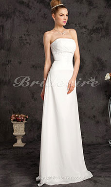 guaina/ Column Chiffon Raso terra Abito da sposa With Beaded Applique