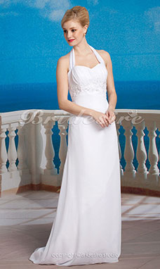 guaina/ Column Chiffon Ad anello Asimmetrico Stile impero Abito da sposa with Beaded Applique