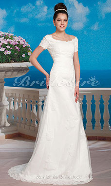 Trapezio Stile impero Sweep/ Brush Train Organza Over Raso Stondata Abito da sposa