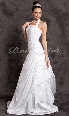 Trapezio Strascico di corte Ad anello Abito da sposa With Beaded Applique