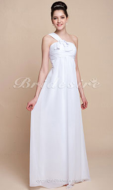 Stile impero Chiffon Over Elastic Raso Raso terra Monospalla Bridesmaid/ Wedding Party vestito