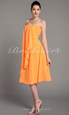 guaina/ Column Chiffon Over Elastic Raso Al ginocchio Senza Spalline Bridesmaid/ Wedding Party vestito