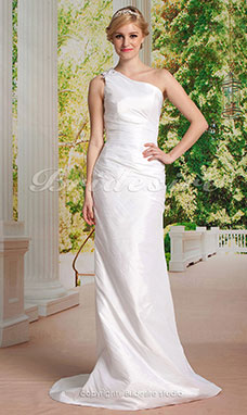 guaina/ Column Taffeta Sweep/ Brush Train Monospalla Abito da sposa