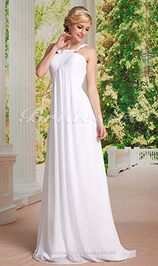 guaina/ Column Chiffon Sweep/ Brush Train Con bretelle Abito da sposa