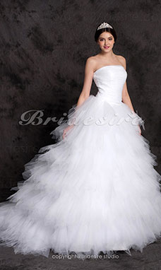 Palloncino Sweep/ Brush Train Tiered Tulle Over Raso Abito da sposa