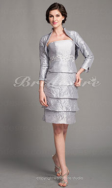Tubino Taffeta Al ginocchio Senza Spalline Mother Of The Bride vestito With A Wrap
