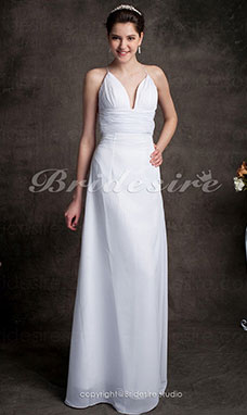 guaina/ Column Chiffon Canotta Sweep/ Brush Train A V Abito da sposa