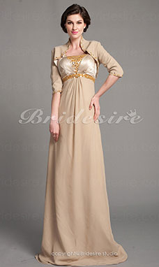 Tubino elasticizzato Raso e Chiffon Raso terra Mother Of The Bride vestito With A Wrap