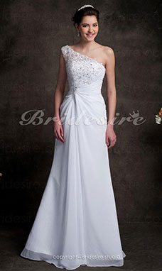 Tubino Monospalla chiffon Sweep/ Brush Train Abito da sposa