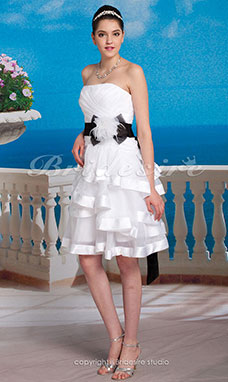 Trapezio Raso e Organza Mini/Corto A cuore Abito da sposa With Removable belt