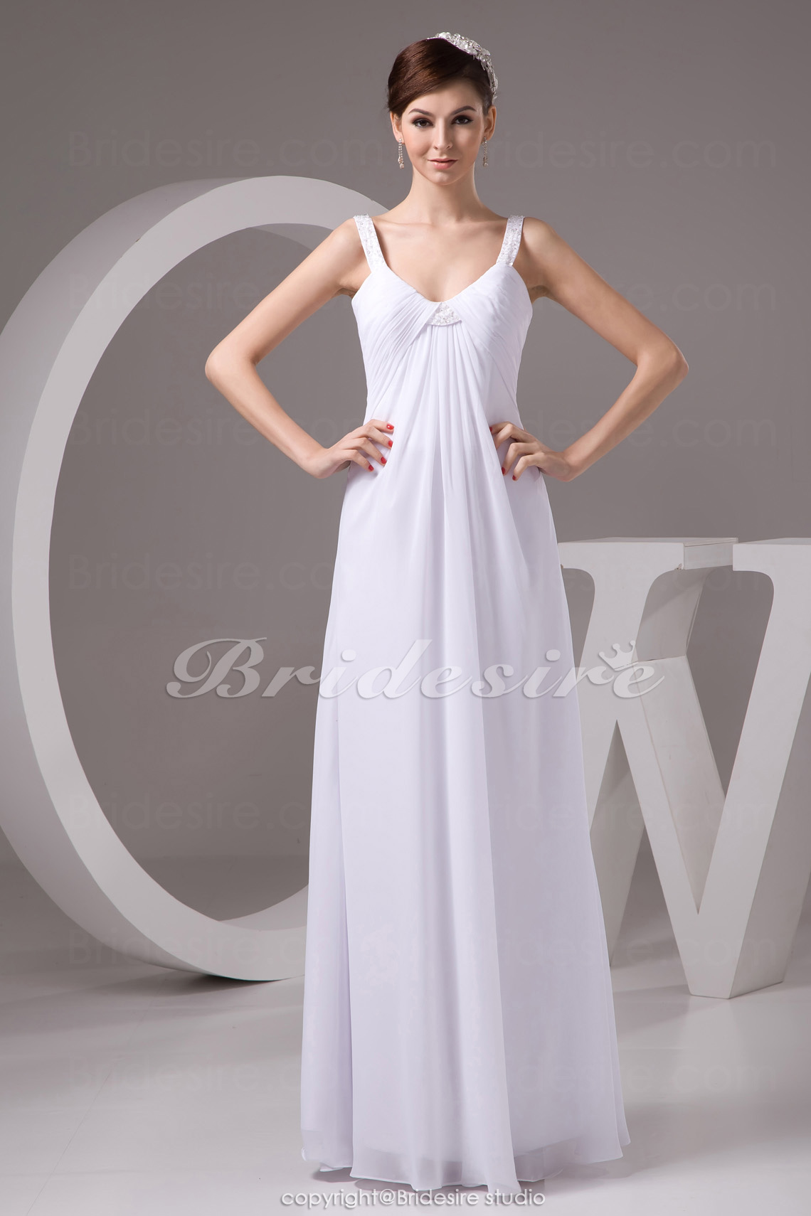 Sheath/Column Scoop Floor-length Sleeveless Chiffon Wedding Dres