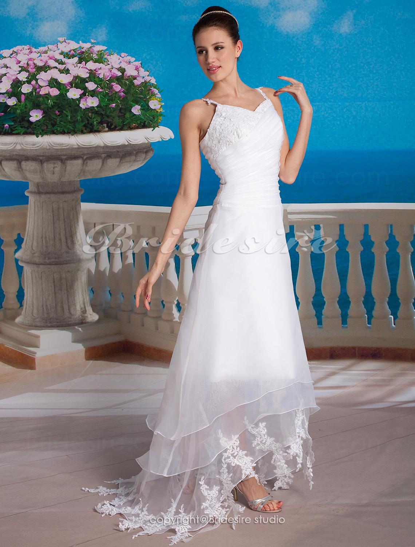 bbd3a2f7d583 Bridesire - Trapezio Organza Asimmetrico A V Abito da sposa  034807  -  €92.84   Bridesire