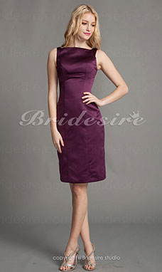 guaina/ Column Raso Al ginocchio A barca Bridesmaid/ Homecoming/ Wedding Party vestito