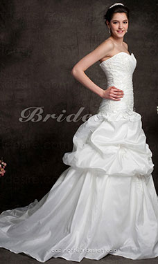Trapezio A cuore Senza Spalline Pick-up Taffeta Abiti da sposa with Beaded Applique