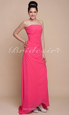 Trapezio Chiffon Over Raso Asimmetrico Senza Spalline Bridesmaid/ Wedding Party vestito
