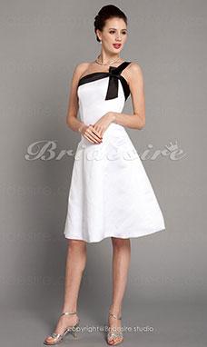 3ef645f4c870 Trapezio Raso Al ginocchio Monospalla vestito damigella