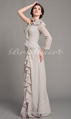Tubino elasticizzato Raso e Chiffon Raso terra Monospalla Mother Of The Bride vestito
