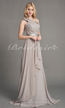 guaina/ Column Chiffon Sweep/ Brush Train Monospalla vestito damigella