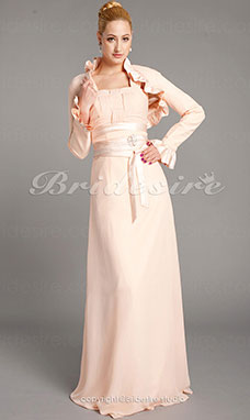 Tubino Chiffon e Raso Raso terra Quadrata Mother Of The Bride vestito With A Wrap
