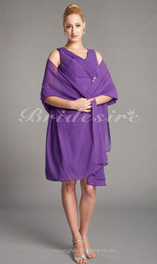 Tubino Chiffon Al ginocchio A V Mother Of The Bride vestito With A Wrap