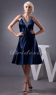 7858e5b77e87 Trapezio Ad anello Al ginocchio Senza maniche elasticizzato Raso vestito
