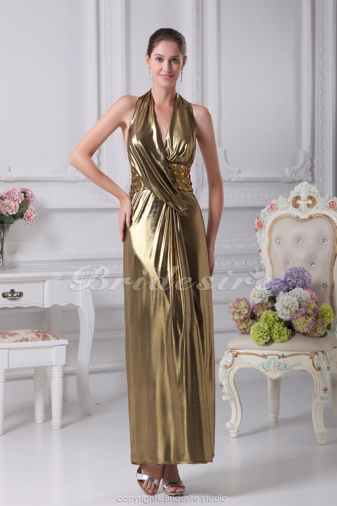 Bridesire - Tubino Ad anello A V Raso terra Senza maniche elasticizzato Raso  vestito  BD4239  - €101.20   Bridesire c1c479e359d