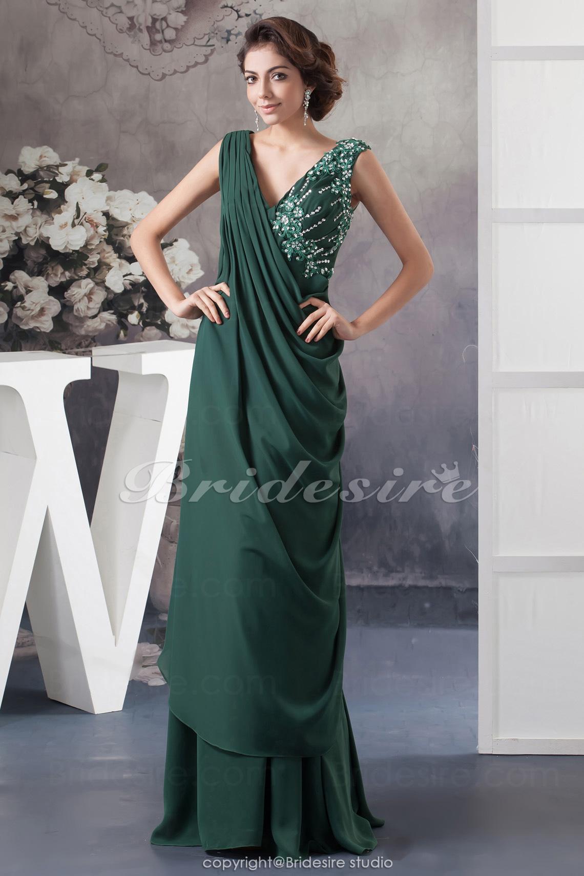 Bridesire - Trapezio A V Raso terra Senza maniche Chiffon vestito  BD41023   - €86.34   Bridesire 524316301b4