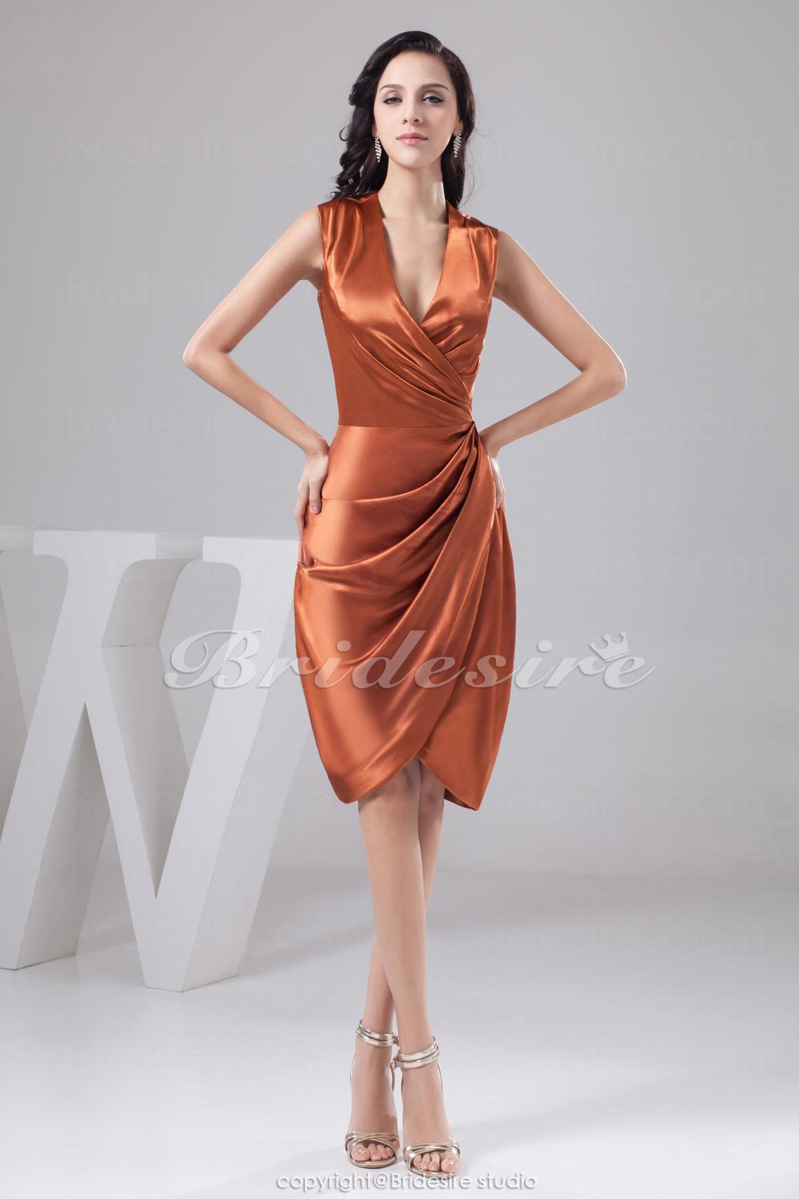 Bridesire - Tubino A V Al ginocchio Senza maniche Raso vestito  BD41158  -  €78.91   Bridesire e8b3404d68e
