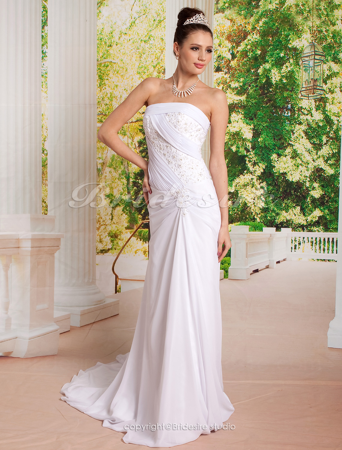 guaina/ Column Flare e Side-Festoni Fit Abiti da sposa with Beaded Applique