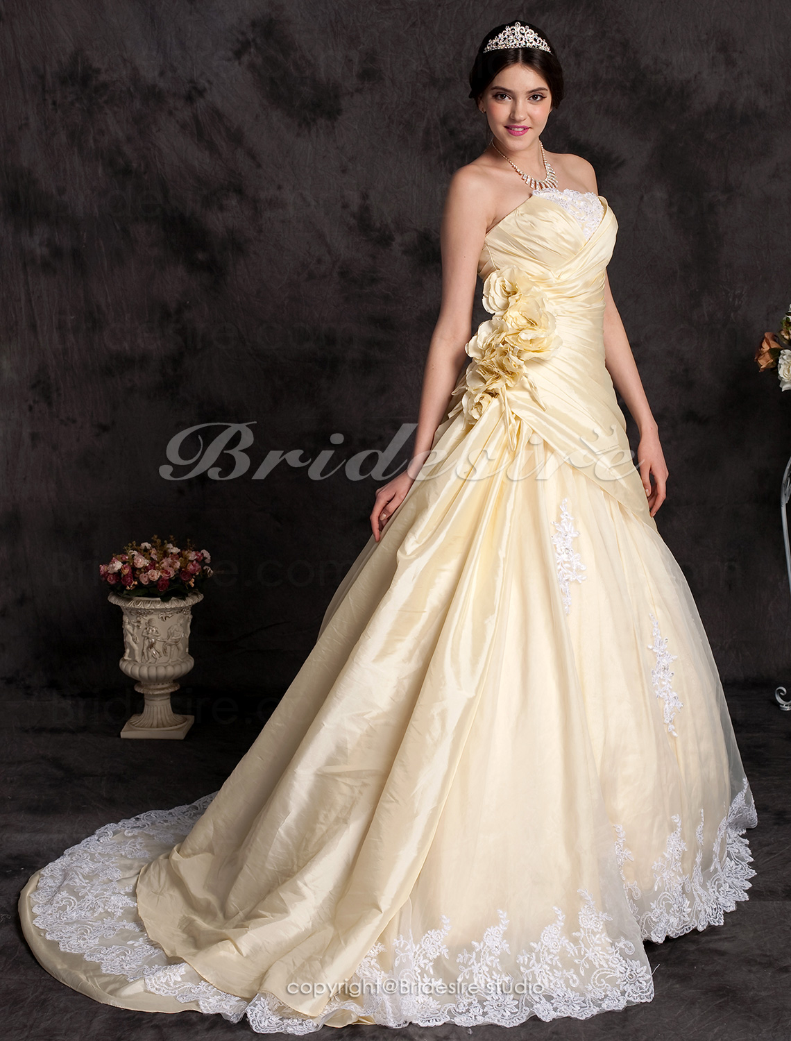 A-line Taffeta Strapless Cathedral Train Wedding Dress with Flow